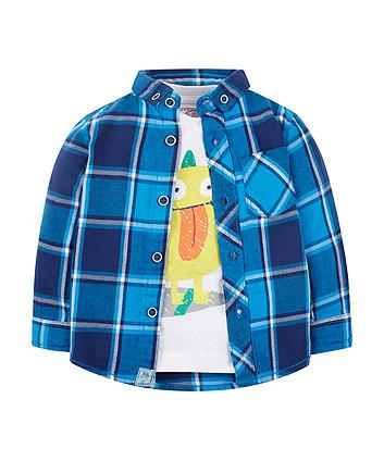 Check Shirt And Monster T-Shirt Set