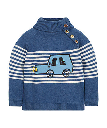 Striped Car Roll Neck Jumper -(3-4 years)