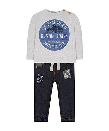 Born To Explore T-Shirt And Jeans Set