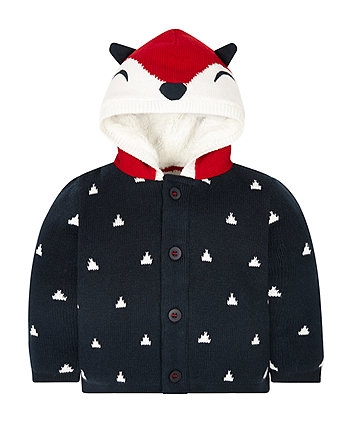 Navy Fox Hooded Cardigan