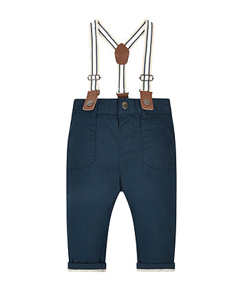 Navy Twill Jersey Lined Trousers With Braces