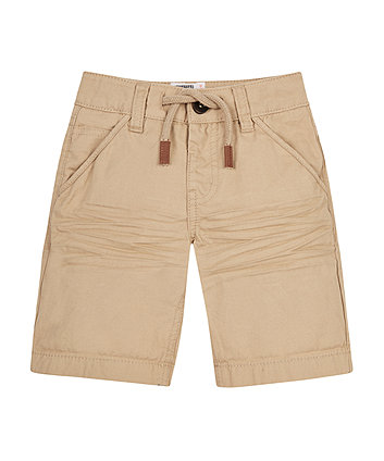 Tan Brushed Twill Shorts