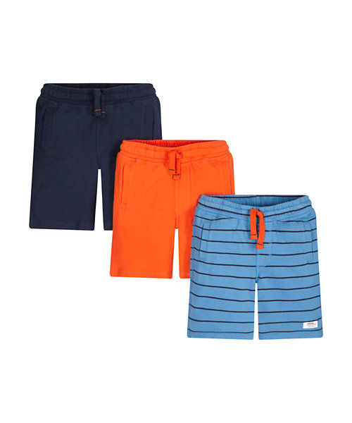 Striped, Navy And Orange Shorts - 3 Pack