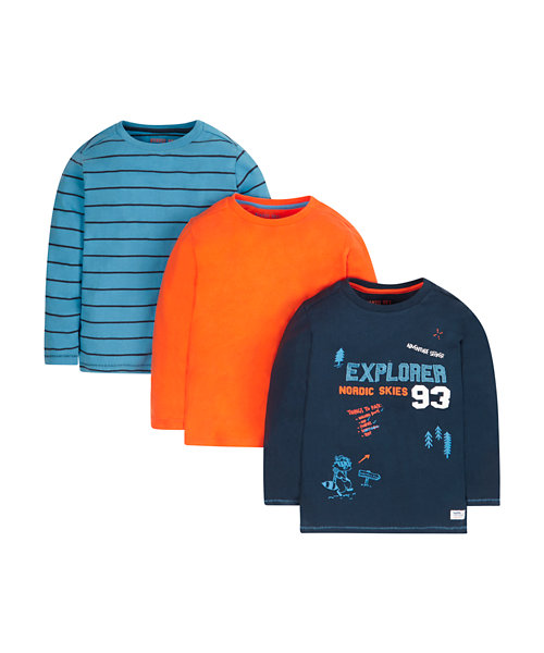 Explorer, Orange And Stripe T-Shirts - 3 Pack