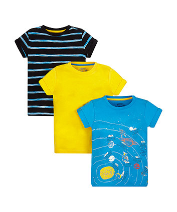 Space, Yellow And Striped T-Shirts - 2 Pack