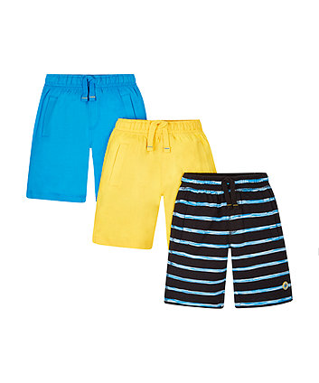 Striped, Yellow And Blue Shorts - 3 Pack