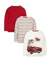 Red, Stripe And Dinosaur Print T-Shirts - 3 Pack