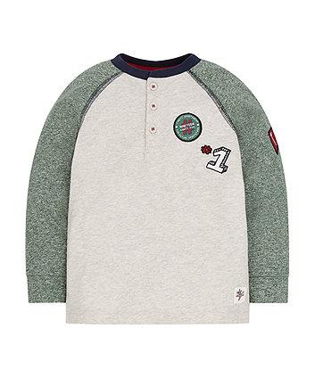 Cream Embroidered Raglan T-Shirt
