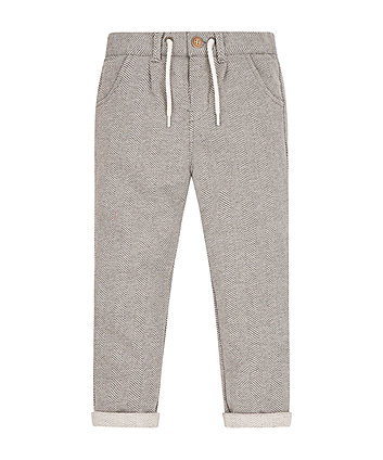 Grey Herringbone Trousers