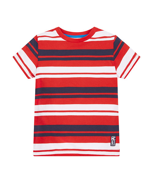 Red, Navy And White Striped T-Shirt