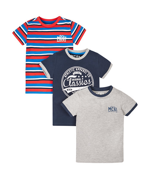 Navy, Grey And Striped T-Shirts - 3 Pack