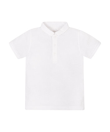 White Pique Polo Top