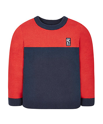 Red And Navy Crew Neck Jumper