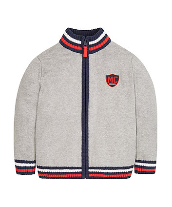 Grey Zip Knit Cardigan