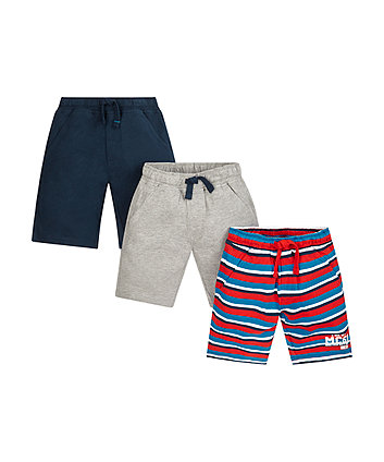 Navy, Grey And Striped Shorts - 3 Pack