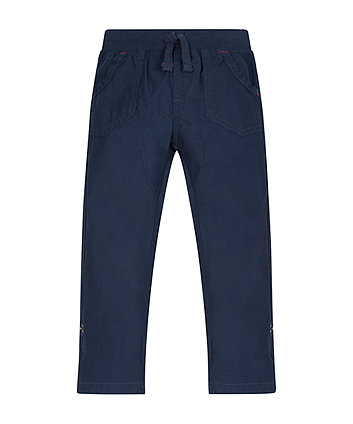 Navy Crunchy Cotton Trousers