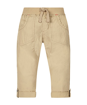 Beige Crunchy Cotton Trousers