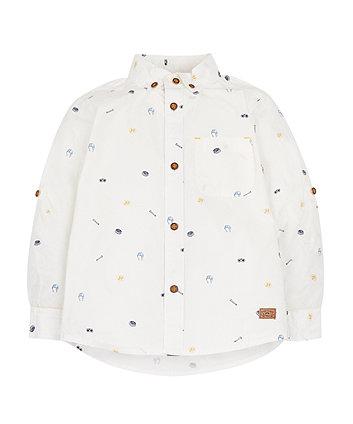 White Sports Print Shirt