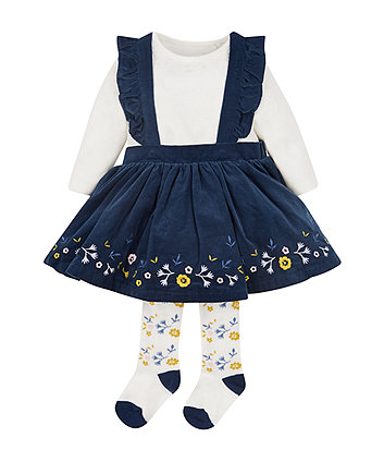Navy Cord Floral Pinny Dress, Tights And Bodysuit Set