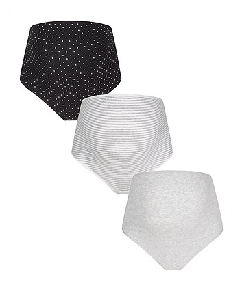 Black And White Over The Bump Briefs - 3 Pack
