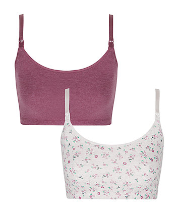 Mulberry And Cream Floral Nursing Sleep Bras - 2 Pack