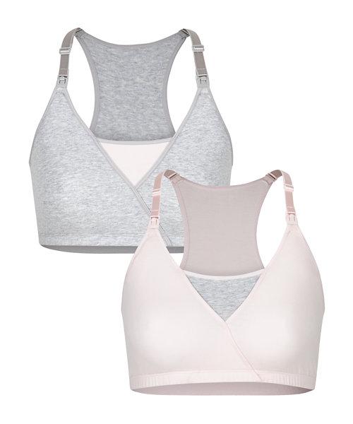 Pink And Grey Marl Nursing Sleep Bras - 2 Pack