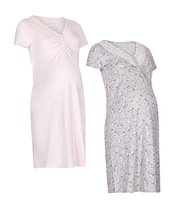 Pink And Grey Floral Nursing Nightdresses - 2 Pack