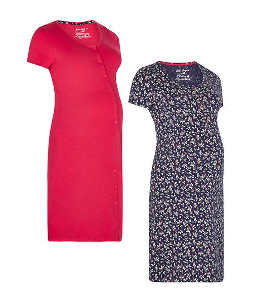 Indigo Floral And Magenta Nursing Nightdresses - 2 Pack