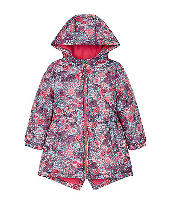 Wadded Floral Lined Mac