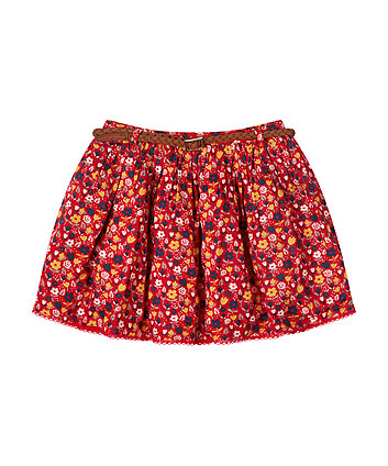 Floral Skirt With Belt