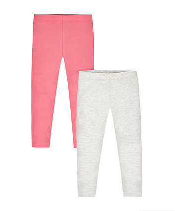Pink And Grey Marl Leggings - 2 Pack