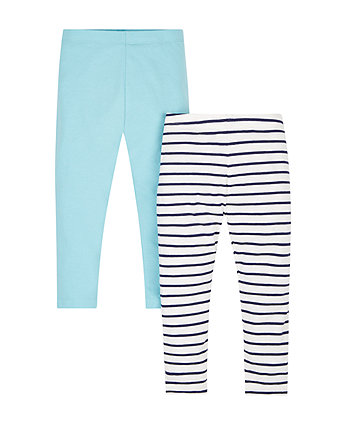 Stripe And Turquoise Leggings - 2 Pack
