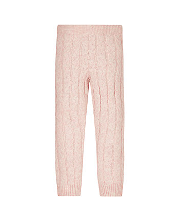 Pink Cable Knit Leggings
