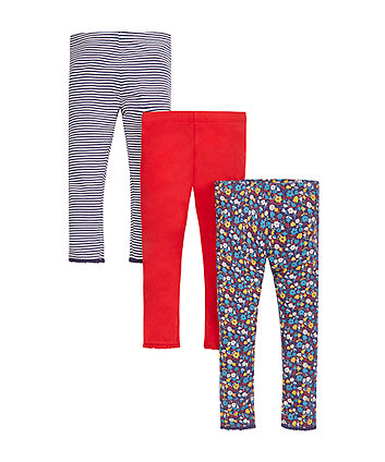 Floral, Stripe And Red Leggings - 3 Pack