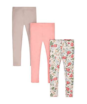 Floral, Pink And Putty Leggings - 3 Pack