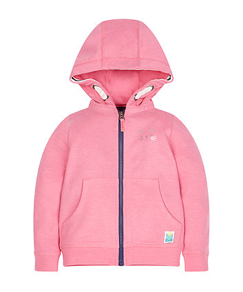 Pink Zip Through Hoodie