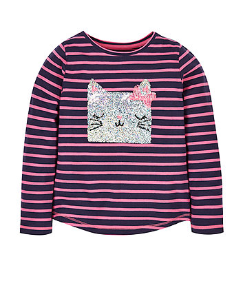 Stripe Sequin Cat T-Shirt