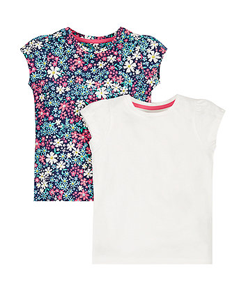 White And Floral T-Shirts - 2 Pack