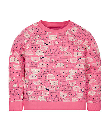 Pink Cat Sweat Top