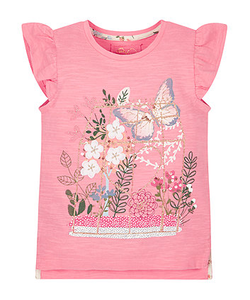 Floral Frill Shoulder T-Shirt