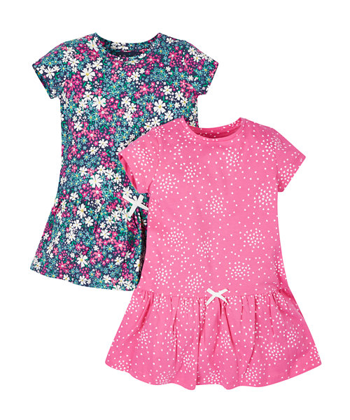 Floral And Heart Dresses - 2 Pack