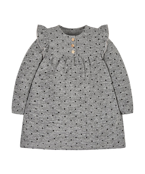 Grey Spot Trapeze Dress