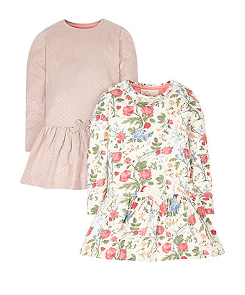 Floral And Spot Jersey Dresses - 2 Pack