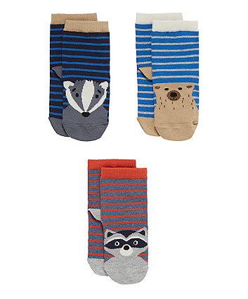 Forest Animal Socks - 3 Pack