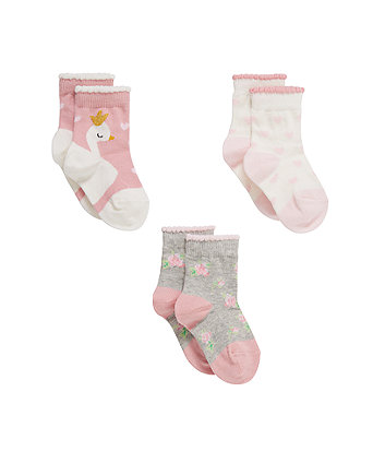 Swan Socks - 3 Pack