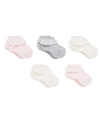 Lace Trim Trainer Socks - 5 Pack