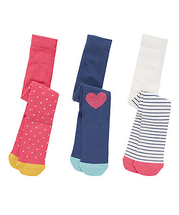 Heart, Stripe And Spotty Tights - 3 Pack