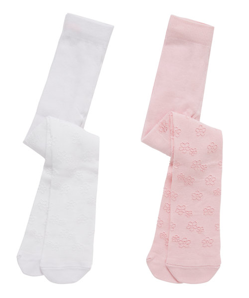 Pink And Cream Tactel Tights - 2 Pack