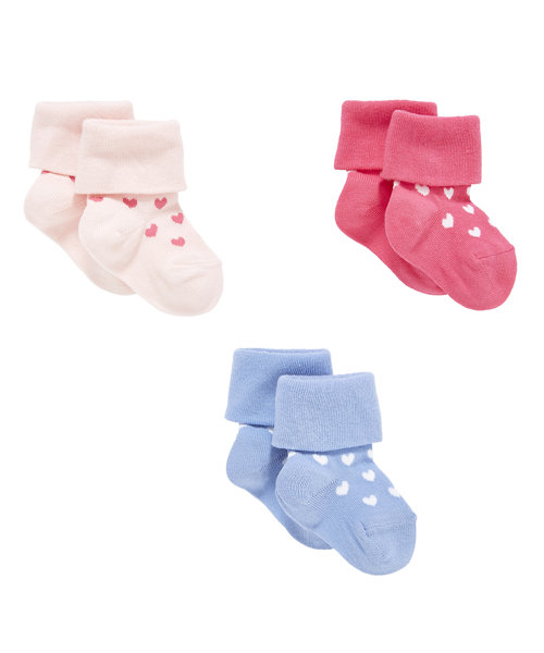 Heart Turn Over Top Socks - 3 Pack