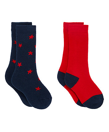Star And Colourblock Thermal Welly Socks - 2 Pack